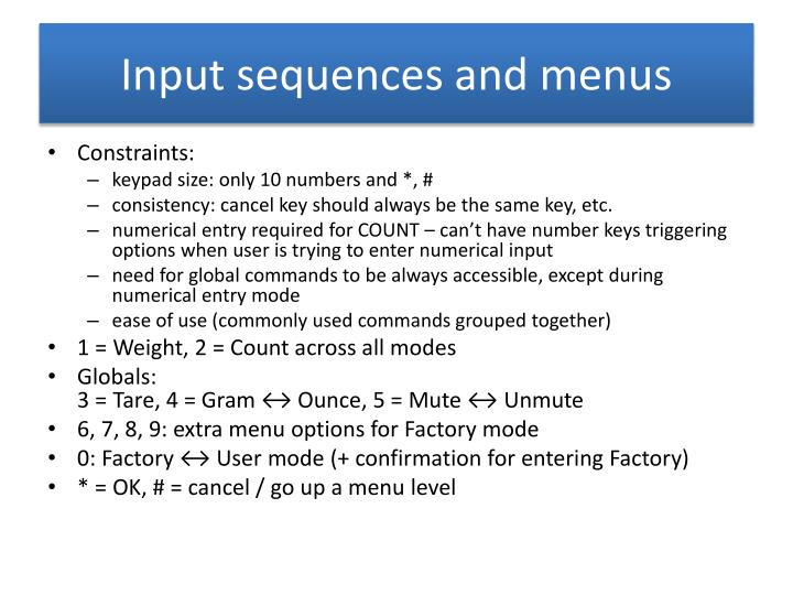 input sequences and menus n.