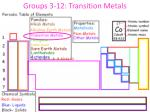 groups 3 12 transition metals