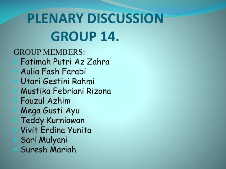 plenary discussion group 14 n.