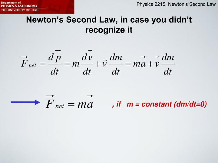 Newton s second law in case you didn t recognize it