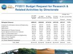 fy2011 budget request for research related activities by directorate