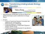 transforming undergraduate biology education