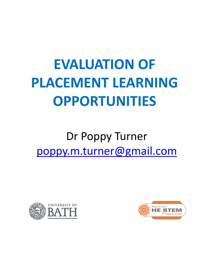 evaluation of placement learning opportunities n.