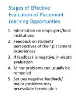 stages of effective evaluation of placement learning opportunties