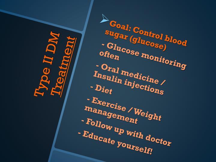 Goal: Control blood sugar (glucose)