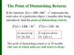 the point of diminishing returns