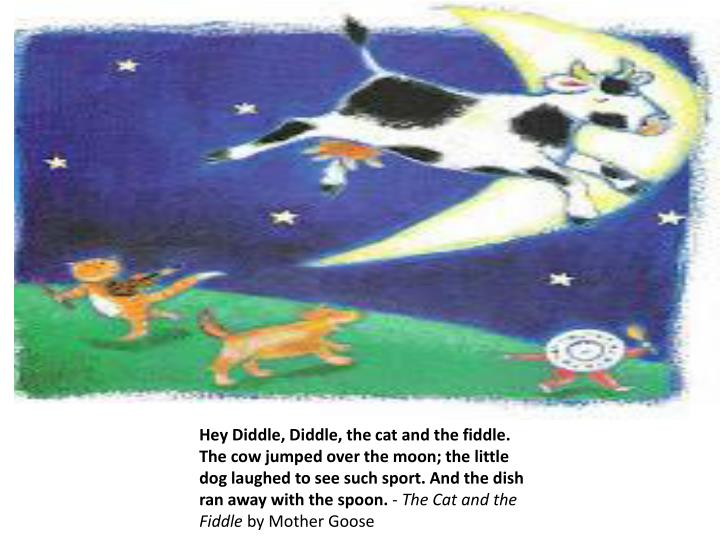 Hey Diddle, Diddle, the cat and the fiddle. The cow jumped over the moon; the little dog laughed to see such sport. And the dish ran away with the spoon.