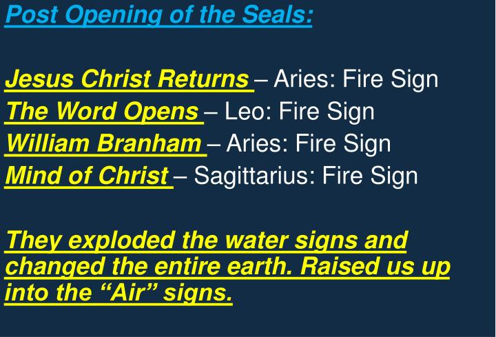 Post Opening of the Seals: