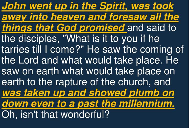 John went up in the Spirit, was took away into heaven and foresaw all the things that God promised