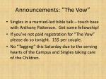 announcements the vow1