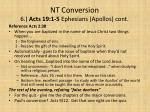 nt conversion 6 acts 19 1 5 ephesians apollos cont