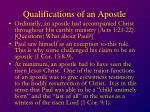 qualifications of an apostle