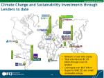 climate change and sustainability investments through lenders to date