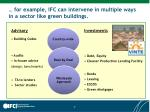 for example ifc can intervene in multiple ways in a sector like green buildings