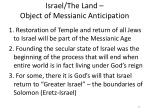 israel the land object of messianic anticipation