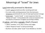 meanings of israel for jews
