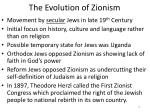 the evolution of zionism
