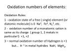 oxidation numbers of elements