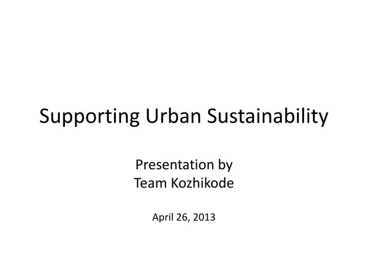 supporting urban sustainability n.