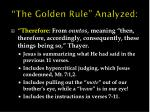the golden rule analyzed