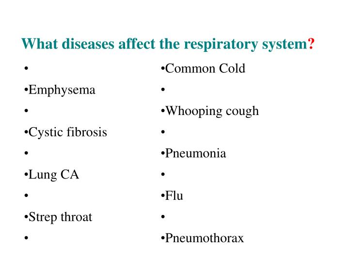 What diseases affect the respiratory system