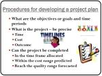 p rocedures for developing a project plan