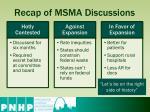 recap of msma discussions