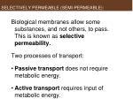 selectively permeable semi permeable