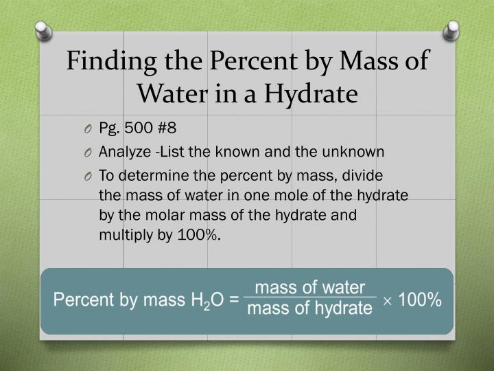 Finding the Percent by Mass of Water in a Hydrate