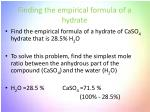 finding the empirical formula of a hydrate
