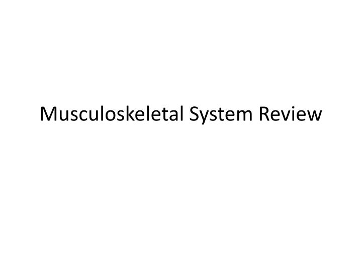 musculoskeletal system review n.