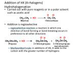 addition of hx x halogens hydrohalogenation