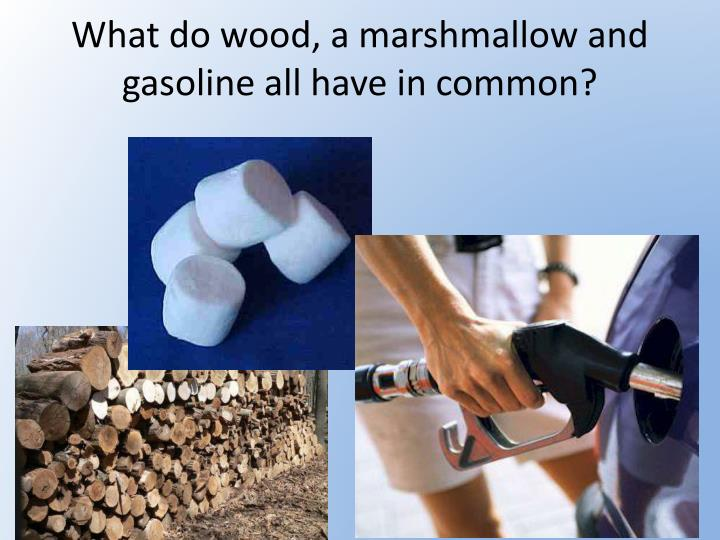 what do wood a marshmallow and gasoline all have in common n.