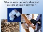 what do wood a marshmallow and gasoline all have in common