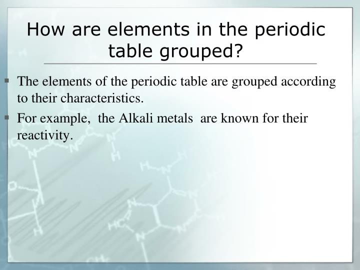 How are elements in the periodic table grouped?