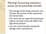 warning consuming minerals in excess can be potentially harmful