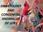 embryology and congenital anomalies of lens