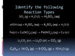 identify the following reaction types