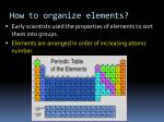 how to organize elements