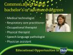 common allied health bachelor s or advanced degrees