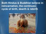 both hindus buddhist believe in reincarnation the continues cycle of birth dearth rebirth