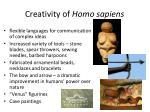 creativity of homo sapiens