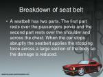 breakdown of seat belt