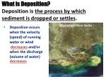 what is deposition deposition is the process by which sediment is dropped or settles