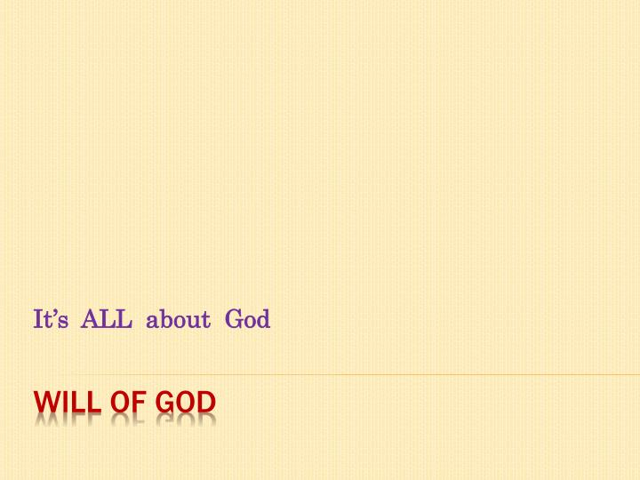 it s all about god n.