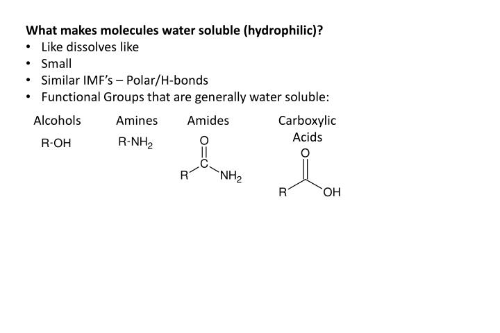 What makes molecules water soluble (hydrophilic)?