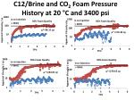 c12 brine and co 2 foam pressure history at 20 c and 3400 psi