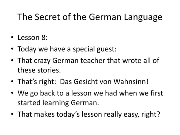 the secret of the german language n.