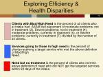 exploring efficiency health disparities