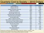 quarterly cost to society 2010 dollars
